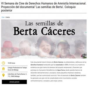 Málaga: Proyección del documental 'Las semillas de Berta'. Coloquio posterior @ Colegio Profesional de Trabajo Social de Málaga