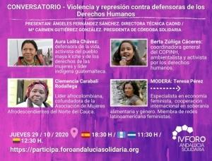 """Andalucía: Conversatorio """"Violencia y represión contra las defensoras de los Derechos Humanos"""""""